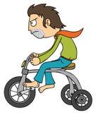 Mężczyzna używać malutkiego bicykl royalty ilustracja