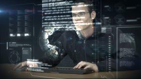 Mężczyzna używa nowego interfejs w przyszłości zbiory