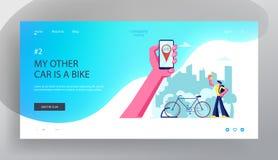 Mężczyzna Używa Smartphone zastosowanie dla rower Czynszowej usługi Ręka Trzyma Smartphone z bicykli/lów Gps Geolocation Podróżow royalty ilustracja