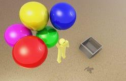 Mężczyzna ucieczka z balonem Zdjęcie Stock