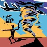 Mężczyzna ucieka od katastrofy i pokazuje sposób dla ewakuaci, tło niszczący dom w tornadzie Obraz Royalty Free