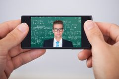 Mężczyzna uczęszcza online matematyka wykład Zdjęcie Stock