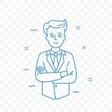 Mężczyzna ufny z fałdowych ręk doodle wektorową ikoną royalty ilustracja