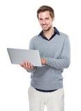Mężczyzna use laptop Fotografia Stock