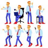 Mężczyzna Ustalony wektor Nowożytni gradientów kolory Ludzie w akci Biznesowy charakter Kreatywnie Istota ludzka Odosobniona płas ilustracja wektor