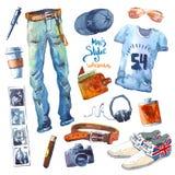 Mężczyzna Ustawiający modny spojrzenie Akwarela odziewa Fotografia Stock