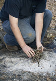 Mężczyzna utworzenia ognisko zdjęcie royalty free
