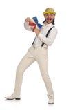 Mężczyzna w śmiesznym pojęciu odizolowywającym na bielu Fotografia Stock