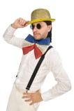 Mężczyzna w śmiesznym pojęciu odizolowywającym na bielu Zdjęcie Stock