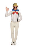 Mężczyzna w śmiesznym pojęciu odizolowywającym na bielu Obrazy Royalty Free