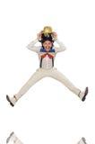 Mężczyzna w śmiesznym pojęciu odizolowywającym na bielu Fotografia Royalty Free