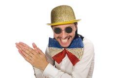 Mężczyzna w śmiesznym pojęciu odizolowywającym na bielu Obrazy Stock