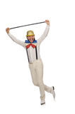 Mężczyzna w śmiesznym pojęciu odizolowywającym na bielu Zdjęcia Royalty Free