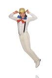 Mężczyzna w śmiesznym pojęciu odizolowywającym na bielu Zdjęcie Royalty Free