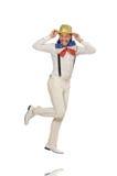 Mężczyzna w śmiesznym pojęciu odizolowywającym na bielu Obraz Royalty Free