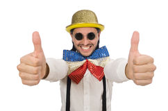 Mężczyzna w śmiesznym pojęciu odizolowywającym na bielu Zdjęcia Stock