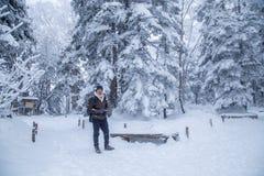 Mężczyzna w śnieżnym sosnowym drewnie zdjęcie stock