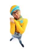 Mężczyzna w żółtym pulowerze i kombinezonach Fotografia Royalty Free