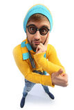 Mężczyzna w żółtym pulowerze i kombinezonach Zdjęcia Royalty Free