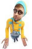 Mężczyzna w żółtym pulowerze i kombinezonach Fotografia Stock