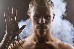Mężczyzna w abstrakta dymu Obraz Royalty Free