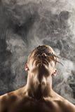 Mężczyzna w abstrakta dymu Zdjęcie Stock