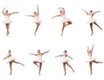 Mężczyzna w baletniczej spódniczce baletnicy odizolowywającej na bielu obraz stock