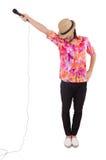 Mężczyzna w colourful koszula odizolowywającej na bielu Fotografia Royalty Free