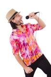 Mężczyzna w colourful koszula odizolowywającej na bielu Zdjęcia Royalty Free