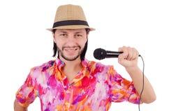 Mężczyzna w colourful koszula odizolowywającej na bielu Fotografia Stock