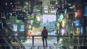 Mężczyzna w cyberpunk mieście royalty ilustracja
