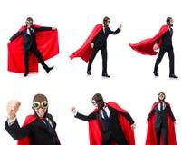 Mężczyzna w czerwieni pokrywie na bielu Zdjęcie Stock