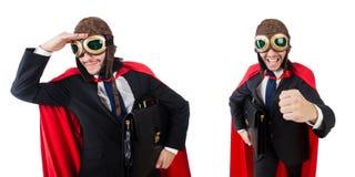 Mężczyzna w czerwieni pokrywie na bielu Zdjęcia Royalty Free
