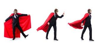 Mężczyzna w czerwieni pokrywie na bielu Obrazy Royalty Free