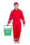 Mężczyzna w czerwonych coveralls Obrazy Royalty Free