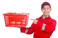Mężczyzna w czerwonych coveralls Zdjęcie Royalty Free