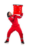 Mężczyzna w czerwonych coveralls Obrazy Stock
