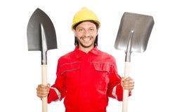 Mężczyzna w czerwonych coveralls Fotografia Royalty Free