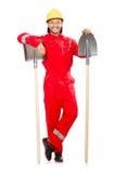 Mężczyzna w czerwonych coveralls Zdjęcia Royalty Free