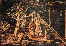 Mężczyzna w deszczu pastelowy rysunek Fotografia Royalty Free