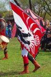 Mężczyzna w dziejowym kostiumu chodzi machający flaga Zdjęcia Stock