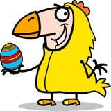 Mężczyzna w Easter kurczaka kostiumu kreskówce Zdjęcia Stock