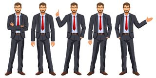 Mężczyzna w garniturze z krawatem Brodaty facet, gestykuluje Fotografia Royalty Free