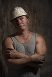 Mężczyzna w hełma górniku Zdjęcie Stock