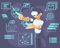 Mężczyzna w hełmie rzeczywistość wirtualna Przyrząd nowa nowożytna technologia dla pracy i nauki, wektorowa płaska ilustracja ilustracji