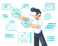 Mężczyzna w hełmie rzeczywistość wirtualna Przyrząd nowa nowożytna technologia dla pracy i nauki, wektorowa płaska ilustracja Odi ilustracja wektor