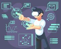 Mężczyzna w hełmie rzeczywistość wirtualna Przyrząd nowa nowożytna technologia dla pracy i nauki, wektorowa płaska ilustracja royalty ilustracja