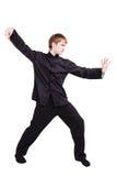 Mężczyzna w kimonowym ćwiczy kung fu Obraz Stock
