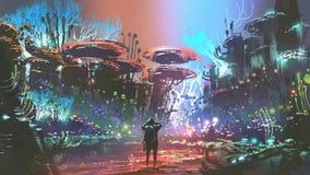 Mężczyzna w kolorowym koralowym lesie ilustracja wektor