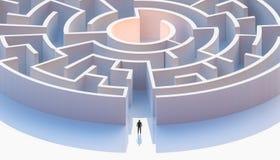 Mężczyzna w kostium pozycji przed koncentrycznym labiryntu wejściem lub kurendą antena Abstrakcjonistyczny i konceptualny ilustracji